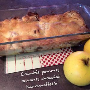 Recette Crumble pommes bananes chocolat