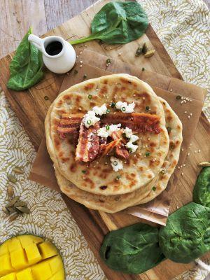 Recette Naan chèvre, bacon et sirop d'érable