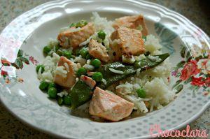 Recette Riz au saumon et aux légumes verts de Sephora