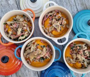 Recette Cocottes de purée de Potimarron aux champignons