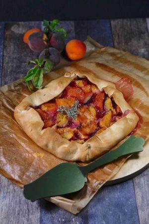 Recette Tarte pêches abricots au thym