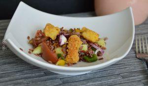 Recette Salade de riz rouge et croustillant de cabillaud