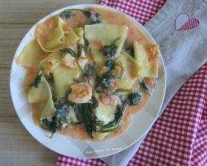 Recette Crevettes aux lasagnes déchiquetées et épinards