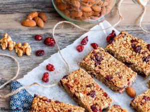 Recette Barre de céréale aux cranberries et noix