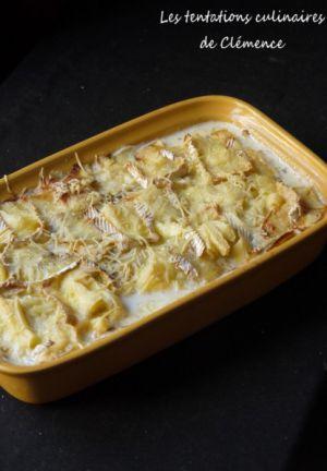 Recette Gratin pommes de terre, pommes, lardons et camembert