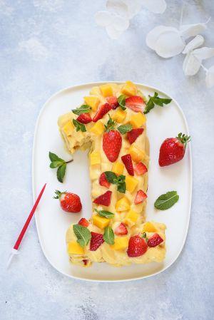 Recette Gâteau chiffre passion mangue et fraise