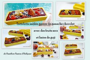 Recette Mini tartelettes sablées à la ganache au chocolat - fruits secs - baies de goji et cranberries