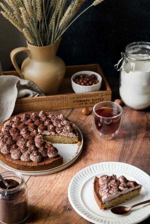 Recette Gâteau de noisette & citron confit, chantilly végétale au cacao