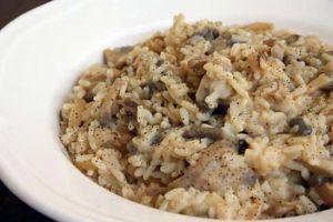 Recette Risotto aux champignon de paris et aux (lardons)