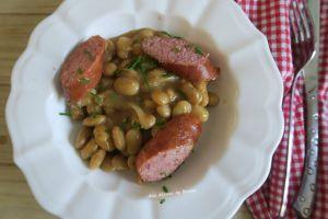 Recette Haricots coco rose d'Italie et saucisse de Montbéliard