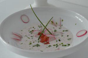 Recette Gaspacho de radis roses au chèvre