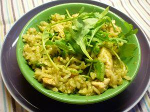 Recette Risotto au poulet, pesto et roquette, dont le risotto de Noël de b. Akrame en prime ou comment réussir le risotto