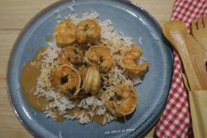 Recette Crevettes à la sauce crevettes et riz sauté à l'huile de sésame
