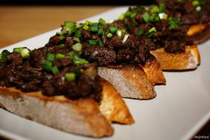 Recette Tartines de foies de boeuf