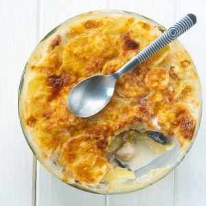 Recette Gratin de pommes de terre poulet et champignons de Paris