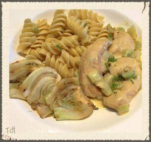 Recette Aiguillettes de poulet crème de fenouil, fusillis & fenouil grillé