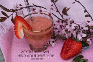Recette Smoothie banane, fraises, baies de goji et graines de chia