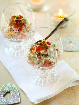 Recette Land : Recette de Mini-verrines apéritives saumon, crevettes et  oeufs de poisson sur Marmiton