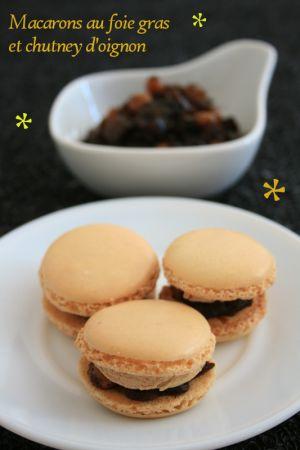 Recette Macarons au foie gras et chutney d'oignon