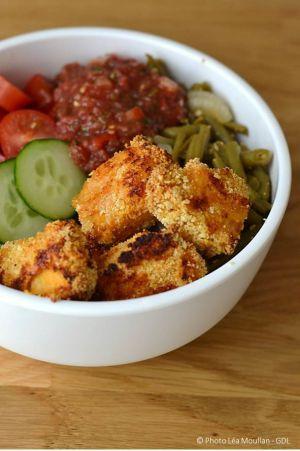 Recette Bol gourmand  et nuggets de poulet (au four)