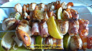 Recette Brochettes de fruits de mer