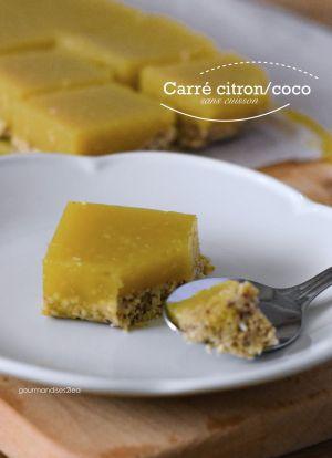 """Recette Ma version """"sans cuisson"""" des carrés citron/coco"""