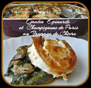 Recette Gratin d'Epinards et Champignons de Paris au Fromage de Chèvre et Noisettes