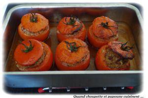 Recette Tomates farcies a la chair a saucisses et jus de poulet maison