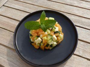 Recette Tartare de melon, feta, concombre et menthe
