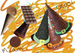 Recette Friandises au chocolat en forme de chapeau de sorcière pour Halloween