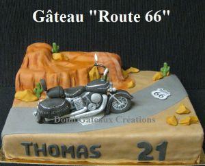 """Recette Gâteau """"Route 66 / Harley Davidson"""" en Pâte à Sucre"""