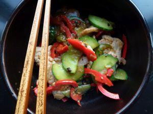 Recette Wok de porc, concombre et poivrons aux haricots noirs fermentés
