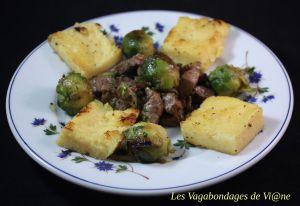 Recette Foie aux oignons, choux de Bruxelles et polenta