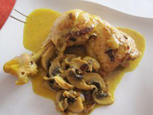 Recette Cuisses de poulet à la crème/champignons