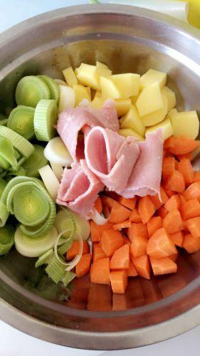 Recette Purée poireaux pomme de terre carotte jambon