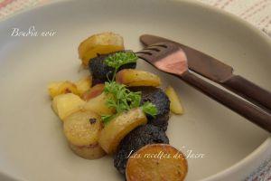 Recette Poélèe de boudin noir aux deux pommes