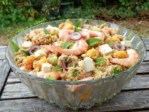 Recette Salade de couscous à la menthe, crevettes et  mangue