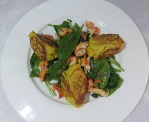 Recette Quenelles de curry poêlées, salade d'épinards aux écrevisses