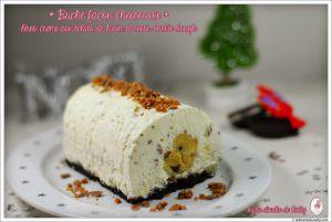 Recette Buche de Noel façon cheesecake sans cuisson { Biscuit Oreo, éclats de daim et coeur Cookie dough }