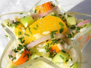 Recette Salade de riz à l'orange et au surimi