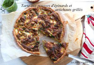 Recette Tarte aux pousses d'épinards et artichauts grillés
