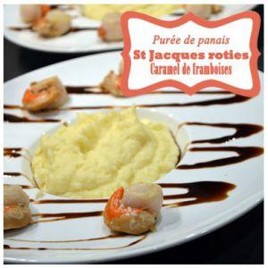 Recette Purée de Panais, coquilles st Jacques roties, caramel au vinaigre de framboises