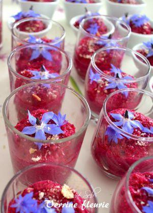 Recette Granité de betterave aillée aux fleurs de Bourrache et bleuet