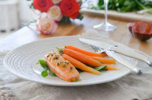 Recette Saumon mi-cuit et sa vinaigrette passion