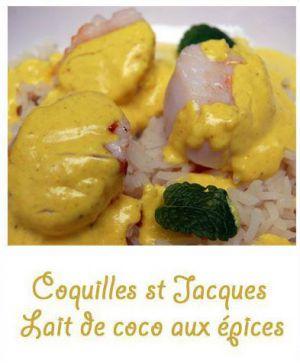 Recette Coquilles St Jacques au lait de coco aux épices
