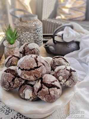 Recette Crinkles au Chocolat, un petit biscuit venu des US, moelleux et croquant à la fois