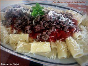 Recette Pâte à la sauce tomate et viande hachée