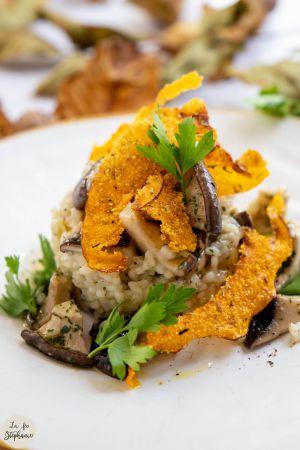 Recette Risotto aux champignons cardoncelli et chips de potiron