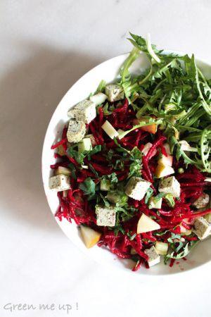 Recette Salade de pissenlit et betteraves crues à la menthe et au tofu-basilic