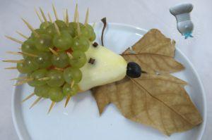 Recette Hérisson poire raisin